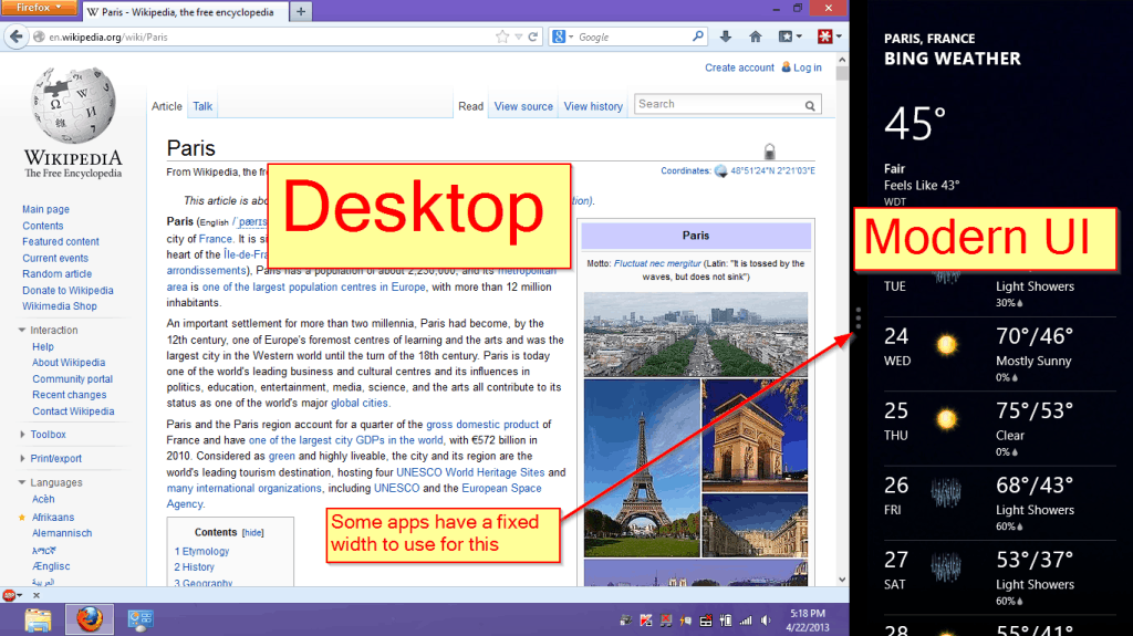 Windows 8 apps side by side