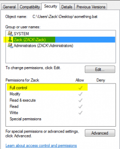 default permissions in user folder