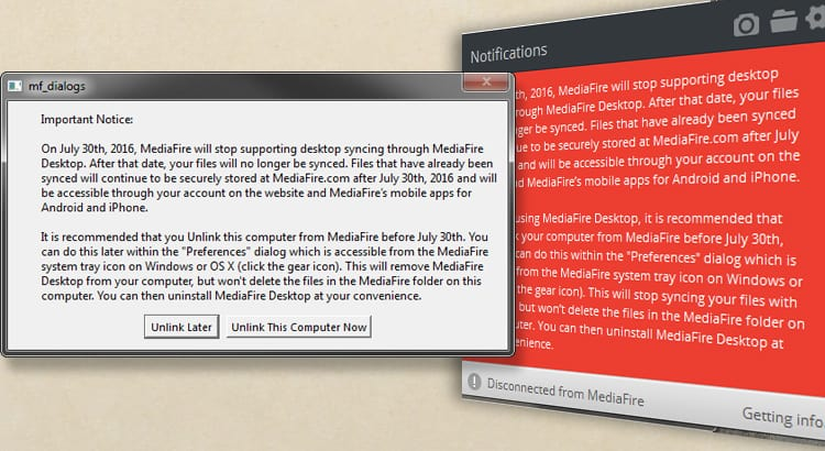 MediaFire Discontinues Desktop Sync